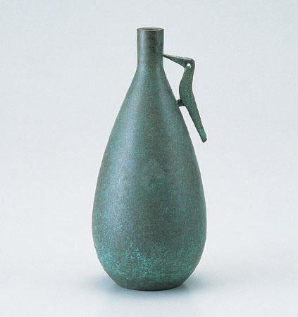 花瓶/花器 「鳥耳利久」銅製 焼青銅 麻生三郎作 100-06