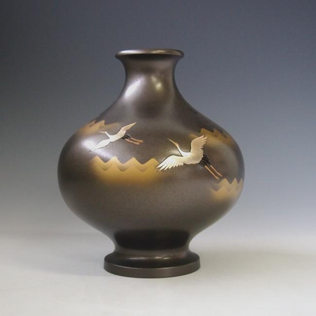 花瓶/福丸形 双鶴 銀梨地 花器 銅製k1