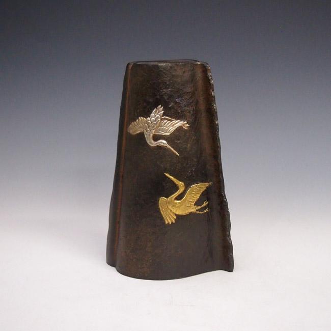 花瓶/鶴 変形 花器 銅製 桐箱入りk5