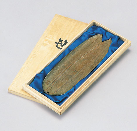 和風小物/ペン皿「笹」銅製 名取川雅司作 桐箱入