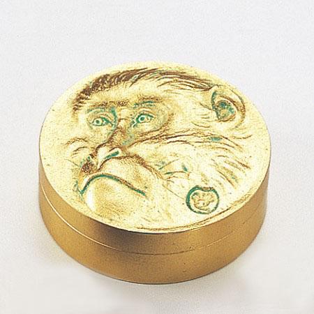 和風小物/高村光雲原型・朱肉入「老猿(金箔仕上げ)」銅製 桐箱入