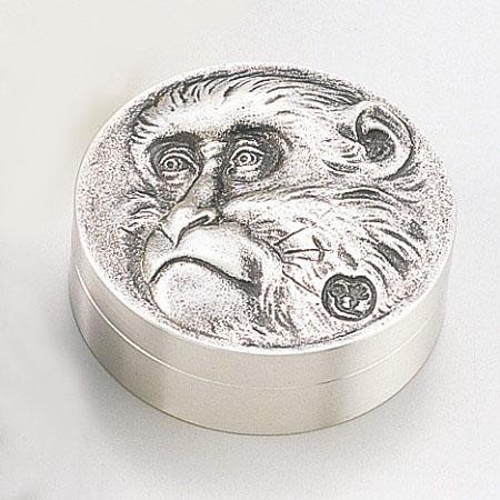 和風小物/高村光雲原型・朱肉入「老猿(銀メッキ仕上げ)」銅製 桐箱入