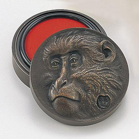 和風小物/高村光雲原型・朱肉入「老猿」銅製 桐箱入