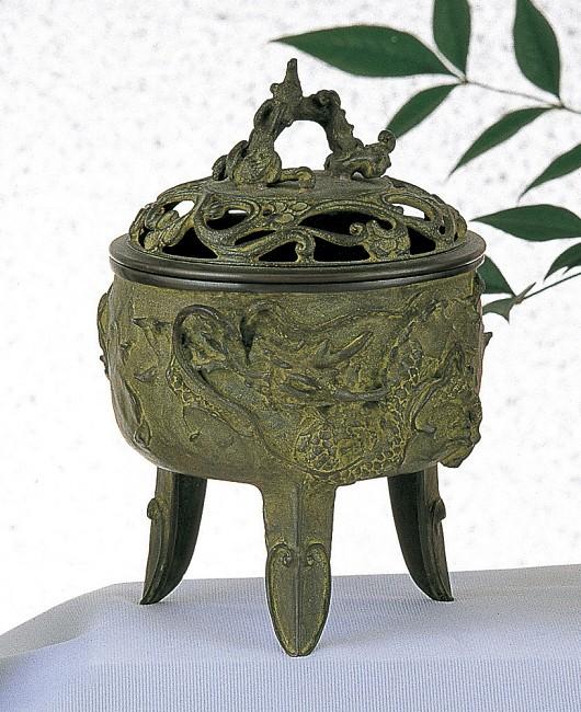 【 高岡銅器 】伝統美術 名取川 雅司作「龍文香炉」銅製 青銅色 桐箱入 127-02
