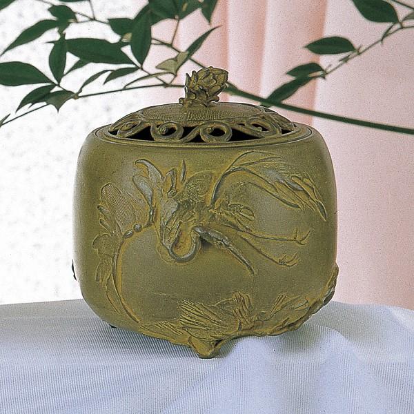 【 高岡銅器 】伝統美術 名取川 雅司作「松鶴文香炉」銅製 青銅色 桐箱入 127-03【ポイント10倍】