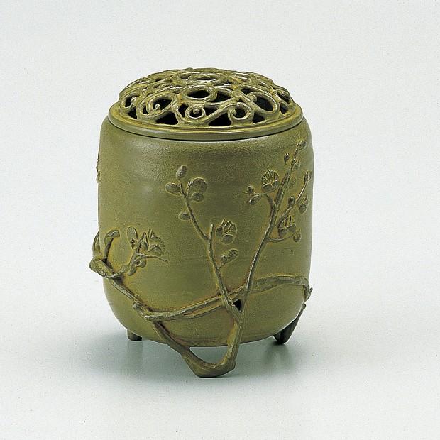 【 高岡銅器 】伝統美術 名取川 雅司作「伝芳文香炉」銅製 青銅色 桐箱入 127-05