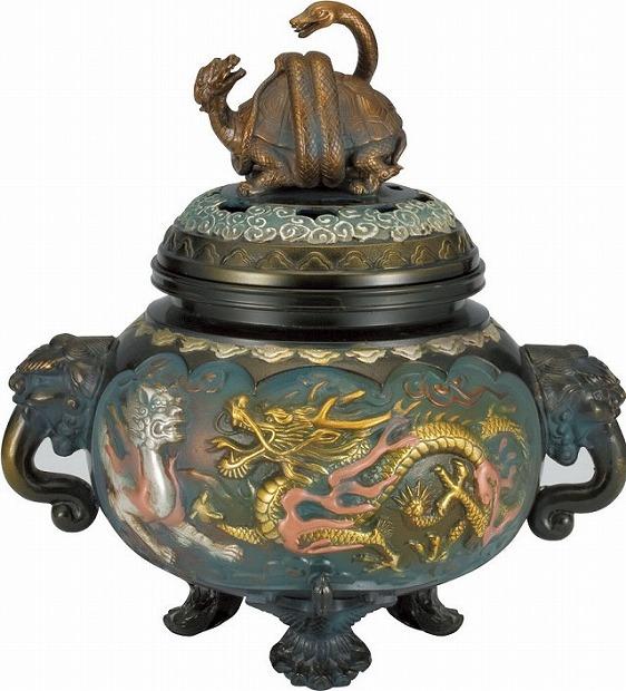 【 高岡銅器 】伝統美術「四神獣香炉」銅製 差しメッキ 129-02