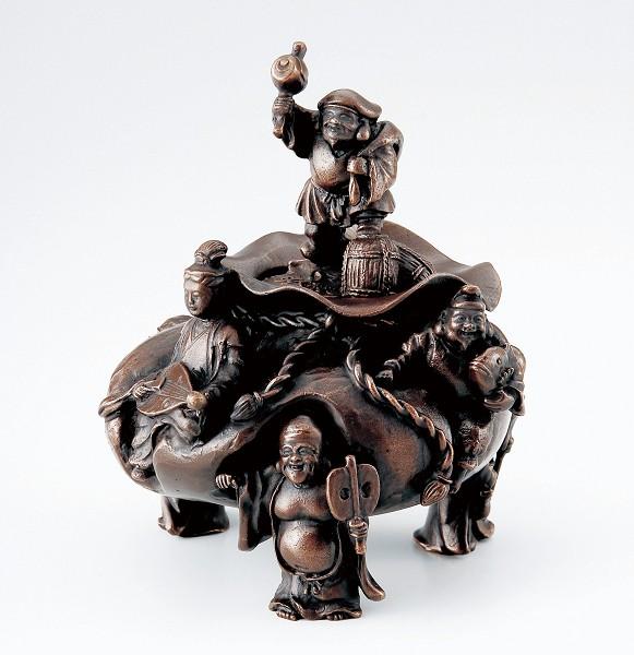 【 高岡銅器 】伝統美術 大森孝志作「招福七福神香炉」蝋型青銅色 上味色 桐箱入 129-06