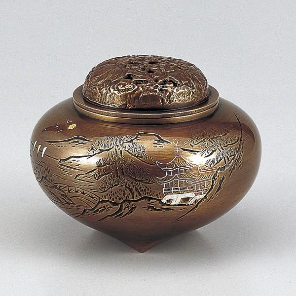 【 高岡銅器 】伝統美術「平型楼閣山水香炉」銅製 山吹色 桐箱入 129-07