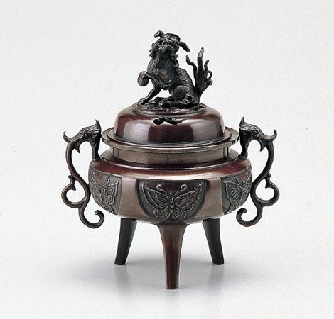 【 高岡銅器 】伝統美術「大和型獅子蓋香炉 大」銅製 徳色 桐箱入 131-03
