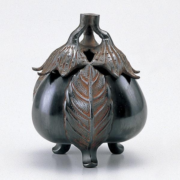 【 高岡銅器 】伝統美術「三ナス香炉」銅製 古手色 131-08