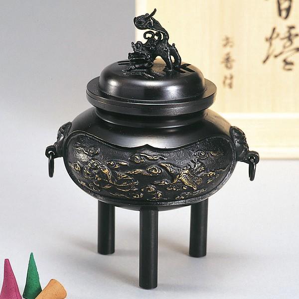 【 高岡銅器 】伝統美術「カン付雲鶴香炉」青銅製 古手色 香付・桐箱入 131-09