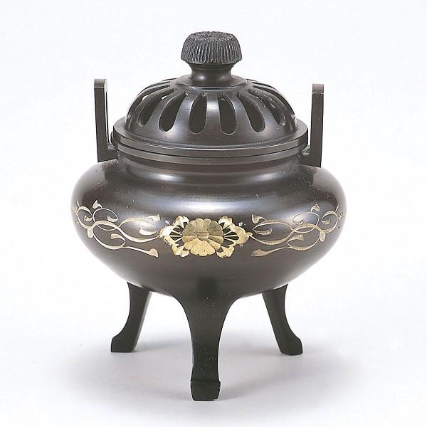 【 高岡銅器 】伝統美術「利久型香炉(大)彫金唐草」銅製 古手色 桐箱入 133-04