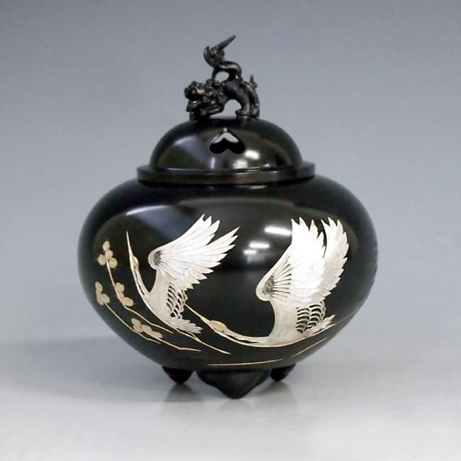 【 高岡銅器 】伝統美術 能作 吉秀作「平丸獅子蓋香炉 双鶴」銅製 古手色 桐箱付 132-01