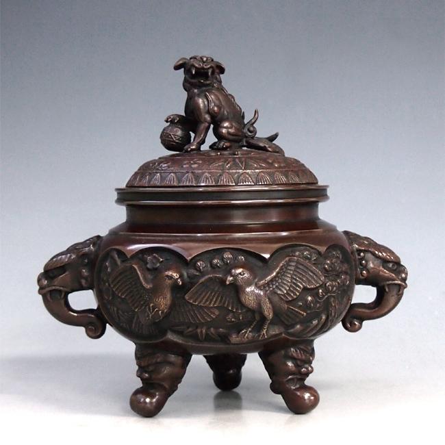 【 高岡銅器 】伝統美術 能作 吉秀作「開運花鳥香炉」銅製 徳色 桐箱入 130-05