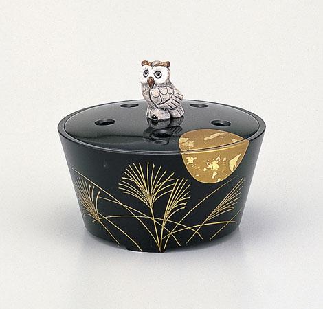 【 高岡銅器 】伝統美術品 香炉 「 月夜 蒔絵 」銅製桐箱付 138-54