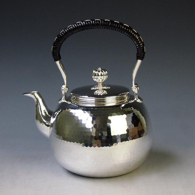 【日本製・証明書付き】純銀製 湯沸(小)鎚目打 純銀保証 銀瓶 約1.0L yw2
