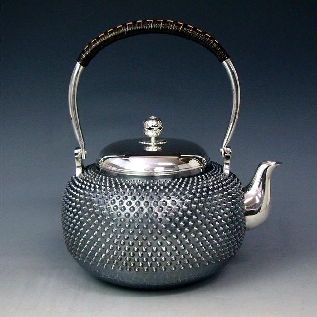 【日本製・証明書付き】純銀製 湯沸 6寸 霰打 純銀保証 銀瓶 約2.2L yw8