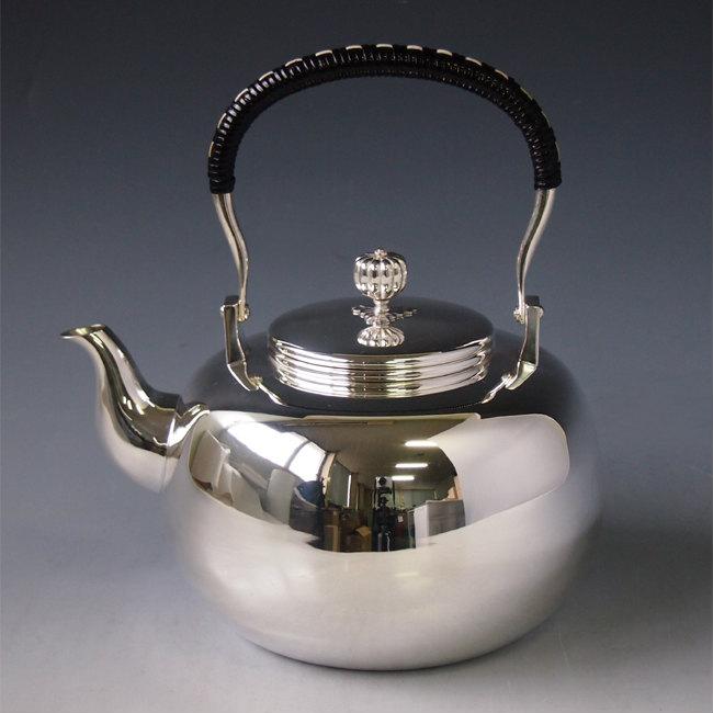 【日本製・証明書付き】純銀製 湯沸(一升)みがき 純銀保証 銀瓶 約1.9L yw9