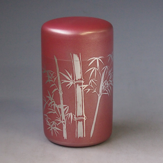 茶筒 錫製 朱竹模様 茶筒tc1