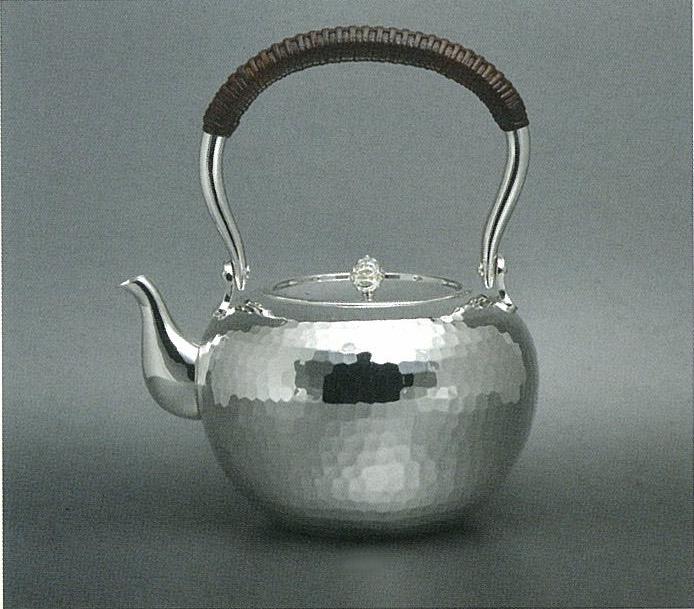 【日本製・証明書付き】純銀 湯沸 4.5寸 荒鎚目 KS型 obg-n128