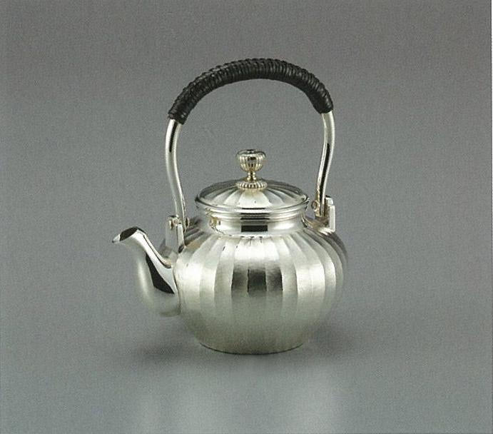 【日本製・証明書付き】純銀 湯沸 立筋 3.5寸 obg-n036