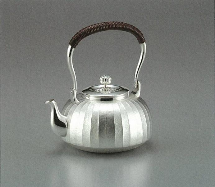 【日本製・証明書付き】純銀 湯沸 立筋 5寸 obg-n037