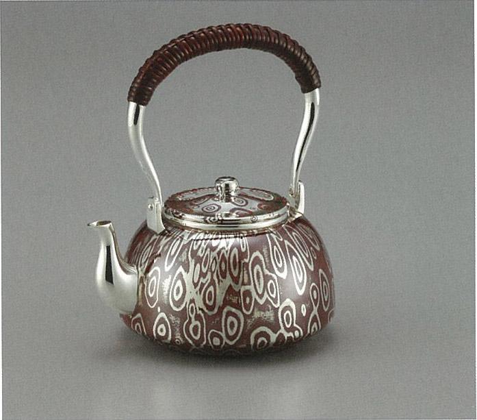 【日本製・証明書付き】純銀/純銅 湯沸 木目金 4寸 obg-n039