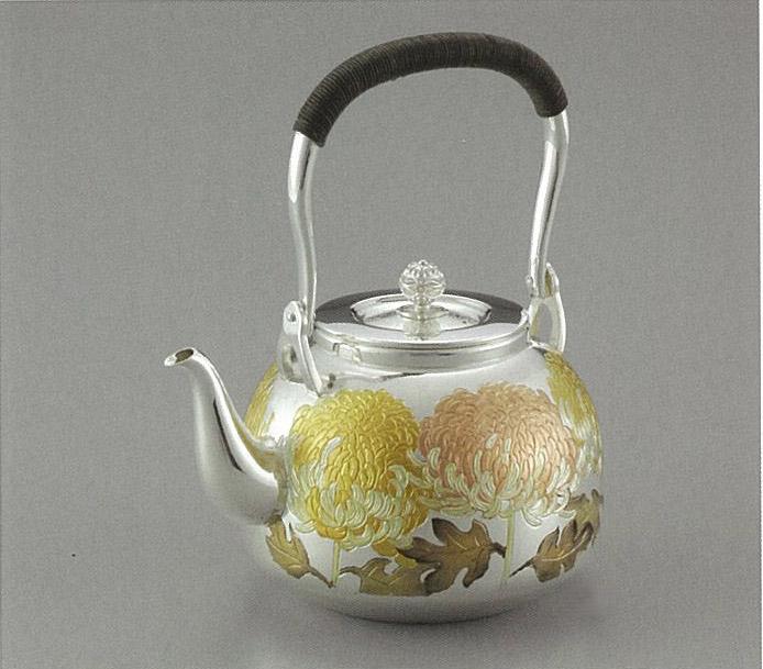 【日本製・証明書付き】純銀 湯沸 R型 菊 5寸 obg-n048