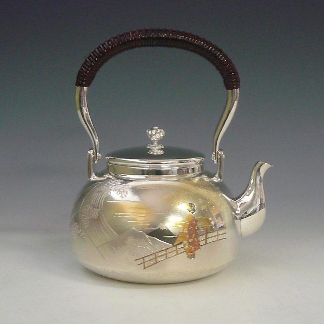【日本製・証明書付き】純銀 湯沸 4.5寸 舞子並型 obg-kg003