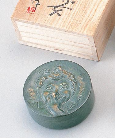 和風小物 朱肉入「喜ぶ少女」 銅製 北村西望作 桐箱入