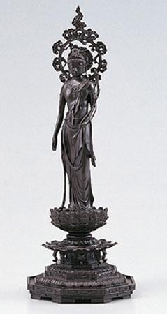 和風置物「聖観音像 後背・蓮台付」高村光雲原型 銅製 桐箱入