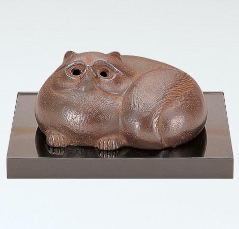 【 高岡銅器 】置物 津田永寿 作「壷香炉」銅製 塗板付 桐箱入 28-56