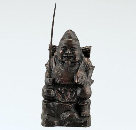 和風置物/般若純一郎作「木彫風恵比須」