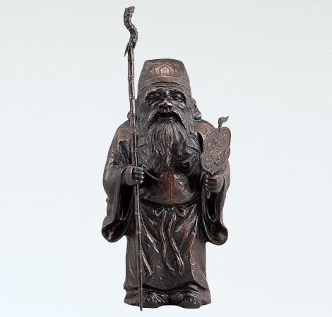 和風置物/般若純一郎作「木彫風寿老人」