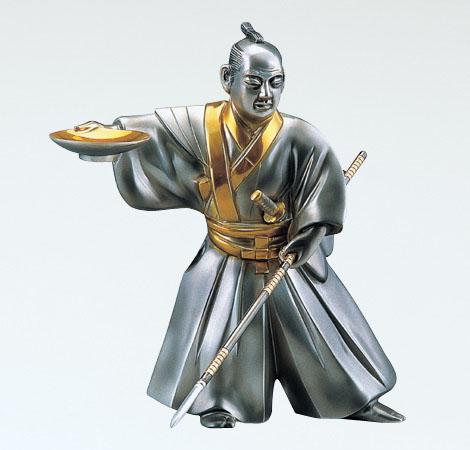 和風置物/「黒田武士」般若純一郎作 銅製 メッキ