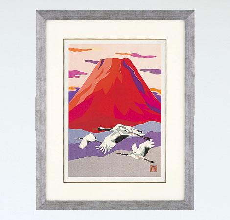 「赤富士に飛鶴 大」彫金パネル/金森弘司 画・北 光修 彫金