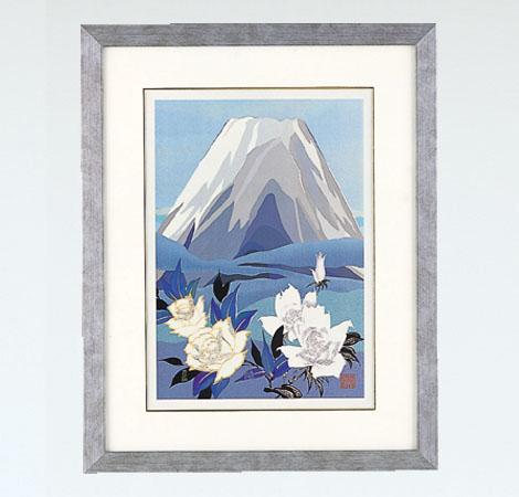 「白富士にバラ 大」彫金パネル/金森弘司 画・北 光修 彫金