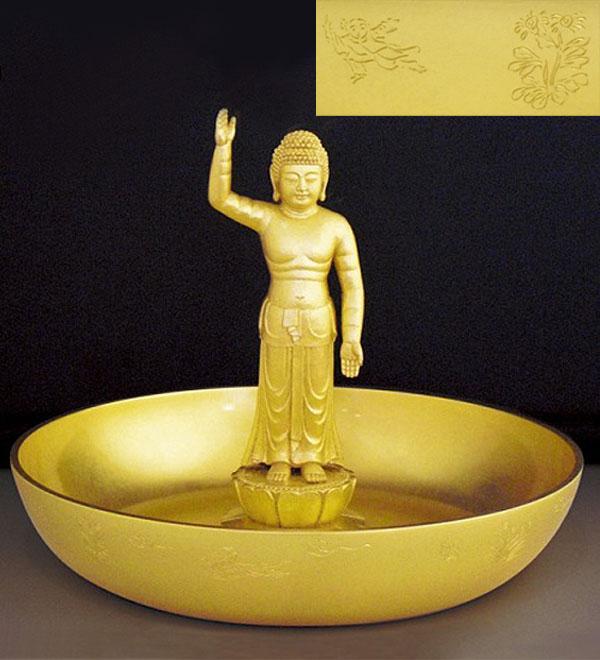 仏像「誕生仏」銅製 本金箔仕上 石川惠観 原型 柄杓付 桐箱入 高さ21cm70-01