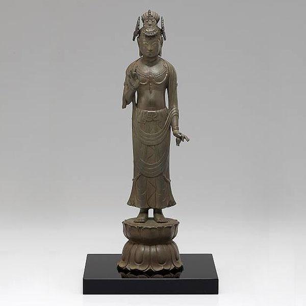 仏像「夢違観音」銅製 長田晴鳳 作 塗板付 桐箱入 高さ25.8cm70-03