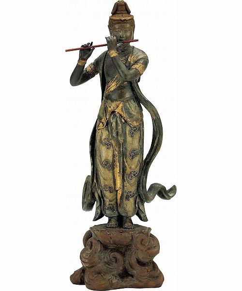 仏像「音声菩薩像(天上の音色)」銅製 喜多敏勝 原型 高さ38cm70-05