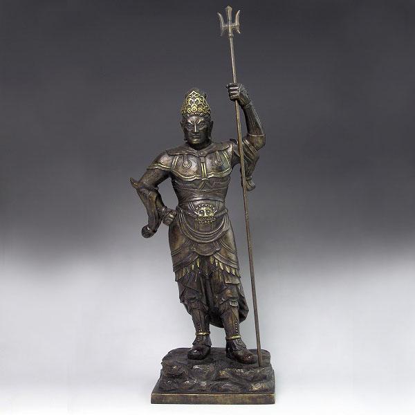 仏像「毘沙門天立像」銅製 長田晴鳳作 塗板付 桐箱入 高さ35cm70-06