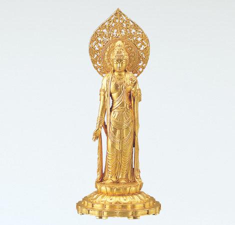 神仏具「瑠璃観音」銅製 金箔 松久宗琳作 桐箱入65-03