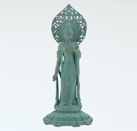 神仏具「瑠璃観音」銅製 青銅色 松久宗琳作 桐箱入65-04