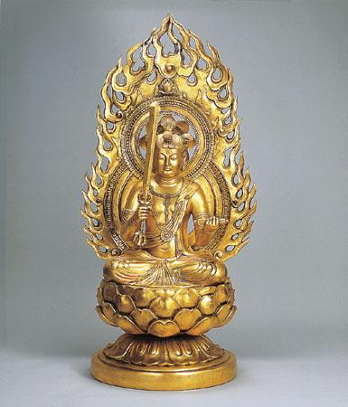 神仏具 「文珠菩薩」銅製 金箔 長田晴山作 うさぎ年生まれのお守本尊72-03