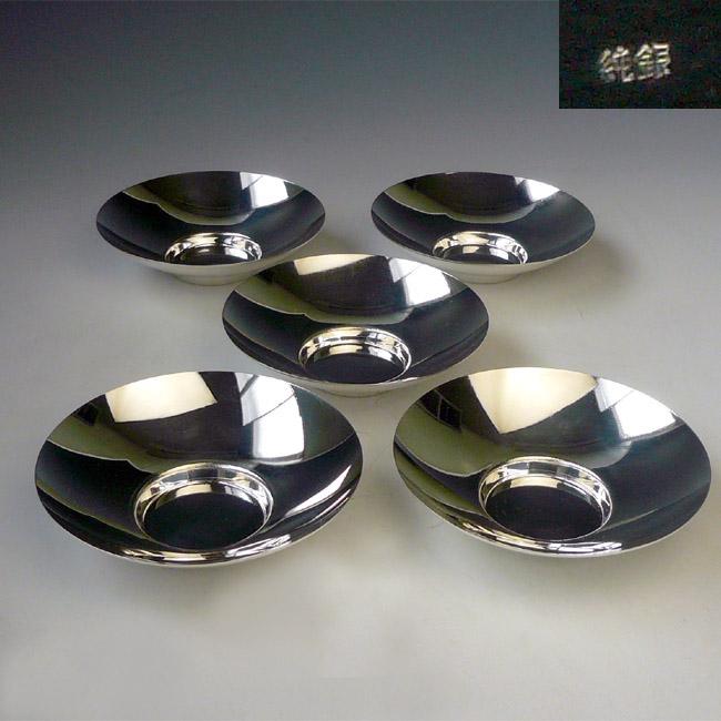【限定1セット】【在庫あり】純銀製 茶托 5枚組(丸 中 みがき)