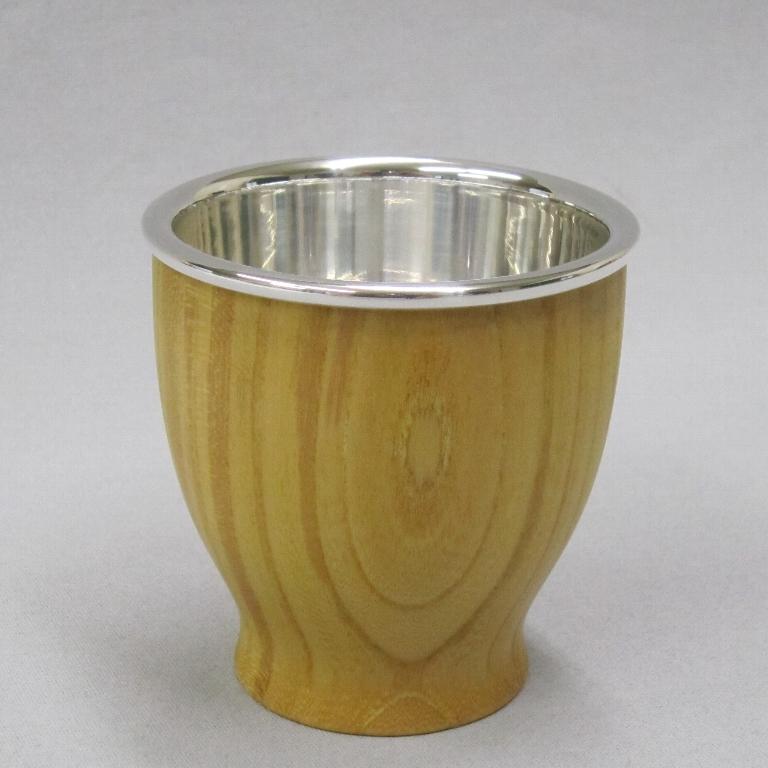 純銀と欅 茶碗 80ml ティーカップ 4個セット