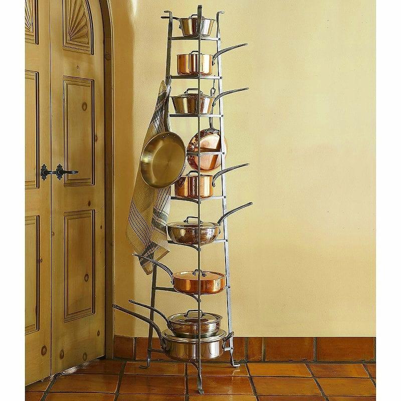【組立要】クックウェアスタンド 鍋置き棚 8段 Enclume CWS8 8-Tier Cookware Stand, Hammered Steel