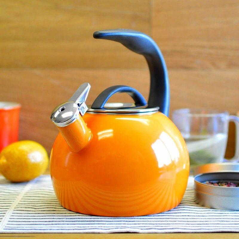 笛吹きケトル やかん シャンタール IH対応 40周年記念ケトル オレンジ ホーローChantal Enamel-On-Steel Anniversary Teakettle 37-ANN OR