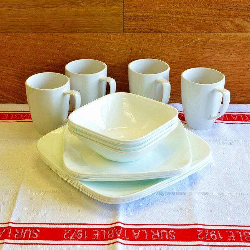 コレール ピュアホワイト 食器16点セット Corelle Square 16-Piece Dinnerware Set Service for 4 Pure White